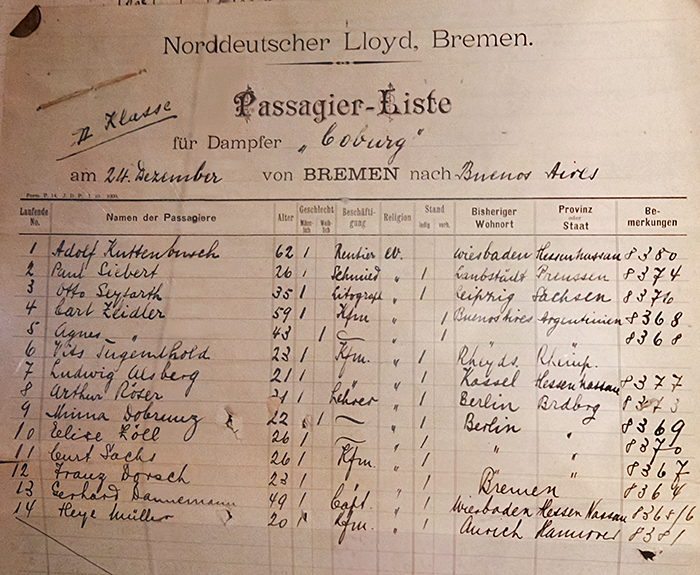 Passenger list of the steamer Coburg.