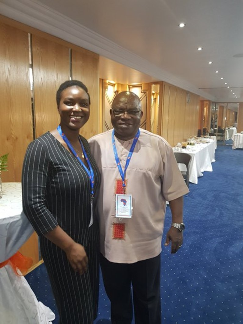 Alex Nadège Ouedraogo with Prof. Jìmí O. Adésínà at the 2019 Social Policy in Africa Conference